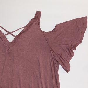 NWOT cold shoulder blouse criss cross front- plus